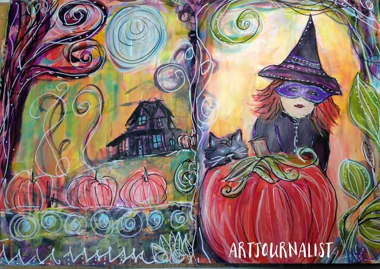 halloween witch mixed media painting